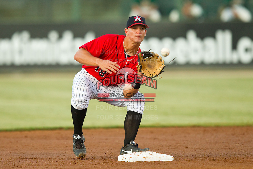 Kannapolis Intimidators second baseman Eric Grabe (18) waits for a throw during the South Atlantic League game against the Greensboro Grasshoppers at CMC-Northeast Stadium on July 15, 2013 in Kannapolis, North Carolina.  The Intimidators defeated the Grasshoppers 4-0.   (Brian Westerholt/Four Seam Images)