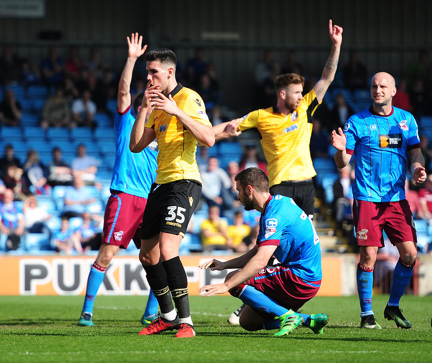Bolton Wanderers' Conor Wilkinson reacts after missing a chance to score in the first half<br /> <br /> Photographer Chris Vaughan/CameraSport<br /> <br /> The EFL Sky Bet League One - Scunthorpe United v Bolton Wanderers - Saturday 8th April 2017 - Glanford Park - Scunthorpe<br /> <br /> World Copyright &copy; 2017 CameraSport. All rights reserved. 43 Linden Ave. Countesthorpe. Leicester. England. LE8 5PG - Tel: +44 (0) 116 277 4147 - admin@camerasport.com - www.camerasport.com