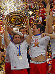 Denmark handball team players Lars Christiansen and Kasper Sondergaard Sarup celebrate victory in men`s EHF EURO 2012 handball championship final game against Serbia in Belgrade, Serbia, Sunday, January 29, 2011.  (photo: Pedja Milosavljevic / thepedja@gmail.com / +381641260959)