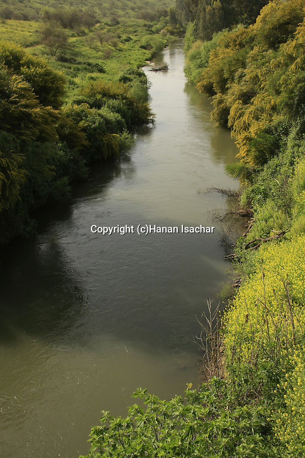 Israel, Upper Galilee, the Jordan River, a view from Bnot Yaacov Bridge .