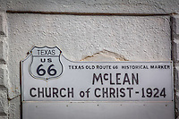 The old Route 66 Church of Christ in McLean Texas.
