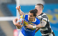 Picture by Allan McKenzie/SWpix.com - 19/04/2018 - Rugby League - Betfred Super League - Hull FC v Leeds Rhinos - KC Stadium, Kingston upon Hull, England - Leeds's Ashton Golding is tackled by Hull FC's Jamie Shaul.