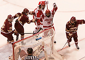 Katie Burt (BC - 33), Caroline Ross (BC - 25), Makenna Newkirk (BC - 19), Maddie Elia (BU - 14), Rebecca Leslie (BU - 19), Caitrin Lonergan (BC - 11) - The Boston College Eagles defeated the Boston University Terriers 3-2 in the first round of the Beanpot on Monday, January 31, 2017, at Matthews Arena in Boston, Massachusetts.