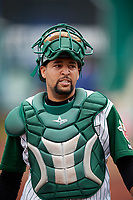 Fort Wayne TinCaps catcher Webster Rivas (8) during a game against the Wisconsin Timber Rattlers on May 10, 2017 at Parkview Field in Fort Wayne, Indiana.  Fort Wayne defeated Wisconsin 3-2.  (Mike Janes/Four Seam Images)