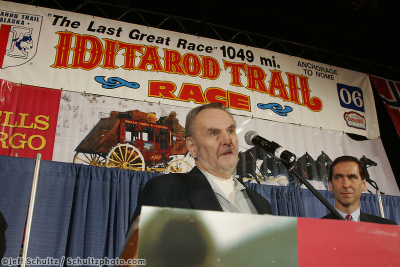 """Thursday March 2, 2006  Anchorage, Alaska.   Iditarod artist Bill Devine speaks after receiving the Joe Redington Sr. """"Founders award"""" for his hard work during the early races  at the musher's pre-race drawing and banquet.  Bill, a commercial artist, created the dog-head logo still used today."""