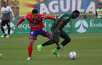 BOGOTA - COLOMBIA - 15 - 07 - 2017: Dairin Gonzalez (Der.) jugador de La Equidad disputa el balón con Javier Reina (Izq.) jugador de Deportivo Pasto, durante partido entre La Equidad y Deportivo Pasto,  por la fecha 2 de la Liga Aguila II-2017, jugado en el estadio Metropolitano de Techo de la ciudad de Bogota. /Dairin Gonzalez  (R) player of La Equidad vies for the ball withJavier Reina(L) player of Deportivo Pasto, during a match between La Equidad and Deportivo Pasto, for the  date 2nd of the Liga Aguila II-2017 at the Metropolitano de Techo Stadium in Bogota city, Photo: VizzorImage  /Felipe Caicedo / Staff.
