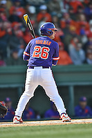 Clemson Tigers left fielder Reed Rohlman (26) awaits a pitch during a game against the South Carolina Gamecocks at Fluor Field February 28, 2015 in Greenville, South Carolina. The Gamecocks defeated the Tigers 4-1. (Tony Farlow/Four Seam Images)