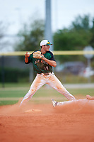 Dartmouth Big Green shortstop Nate Ostmo (19) throws to first base after forcing out Sam Stauble (right) sliding into second base during a game against the Southern Maine Huskies on March 23, 2017 at Lake Myrtle Park in Auburndale, Florida.  Dartmouth defeated Southern Maine 9-1.  (Mike Janes/Four Seam Images)