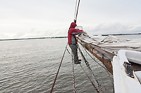 Deck Hand on the Historic Tall Ship, A.J. Meerwald, sailing on the Delaware Bay, New Jersey