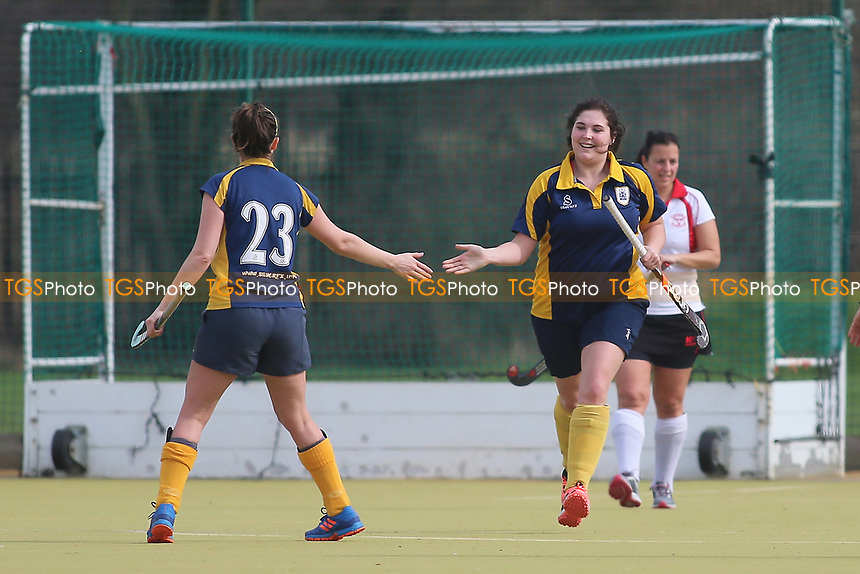 Romford celebrate their first goal during Romford HC Ladies vs Havering HC Ladies 2nd XI, Essex Women's League Field Hockey at the Robert Clack Leisure Centre on 11th March 2017
