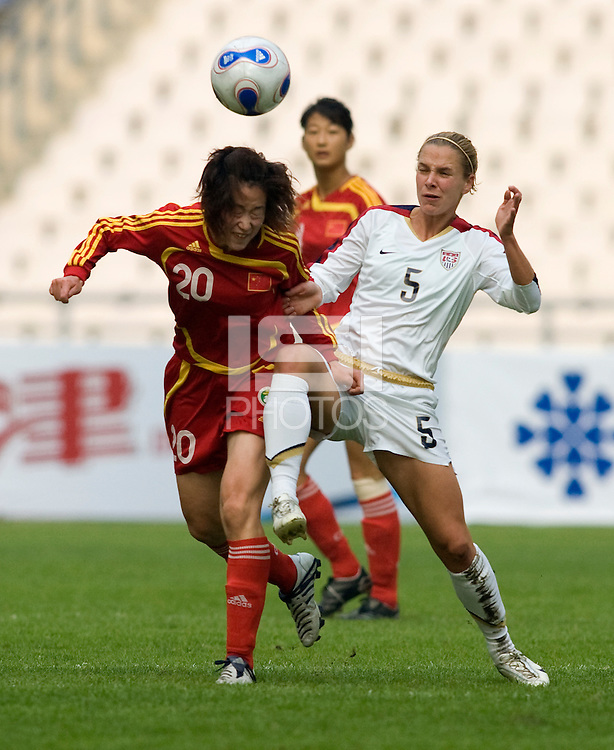 USA forward (5) Lindsay Tarpley fights for the ball with China's (20) Zhang Tong during the Four Nations Tournament in  Guangzhou, China on January 20, 2008.  The U.S. defeated China, 1-0, to win the tournament.