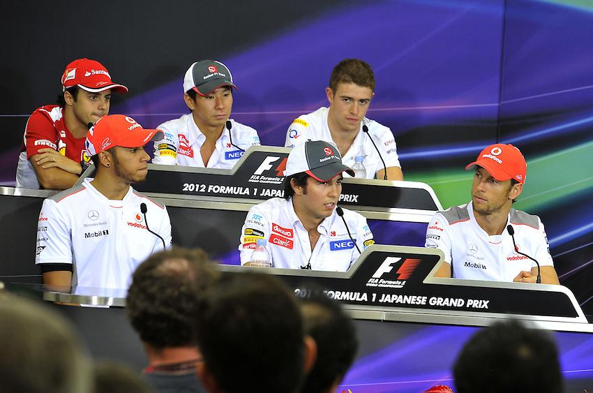 .Felipe Massa (BRA), Scuderia Ferrari - Lewis Hamilton (GBR), McLaren F1 Team - Kamui Kobayashi (JPN), Sauber F1 Team - Sergio Perez (MEX) Sauber F1 Team  - Paul di Resta (GBR), Force India - Jenson Button (GBR),  McLaren F1 Team..2012 FIA Formula One World Championship - Japanese Grand Prix - Suzuka Circuit - Suzuka - Japan - Thursday 4th October 2012...