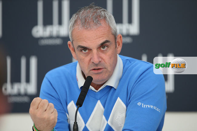 Ryder Cup Captain Paul McGinley much admired the spirit of community and friendship built between the players without him prompting or nurturing which inevitably lead to the European team's success; basically they bonded, during the Media Interview before the 2014 Alfred Dunhill Links Championship, The Old Course, St Andrews, Fife, Scotland. Picture:  David Lloyd / www.golffile.ie