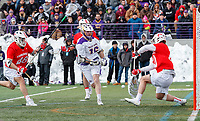 University at Albany Men's Lacrosse defeats Cornell 11-9 on Mar 4 at Casey Stadium.  Christian Knight (#40) saves.