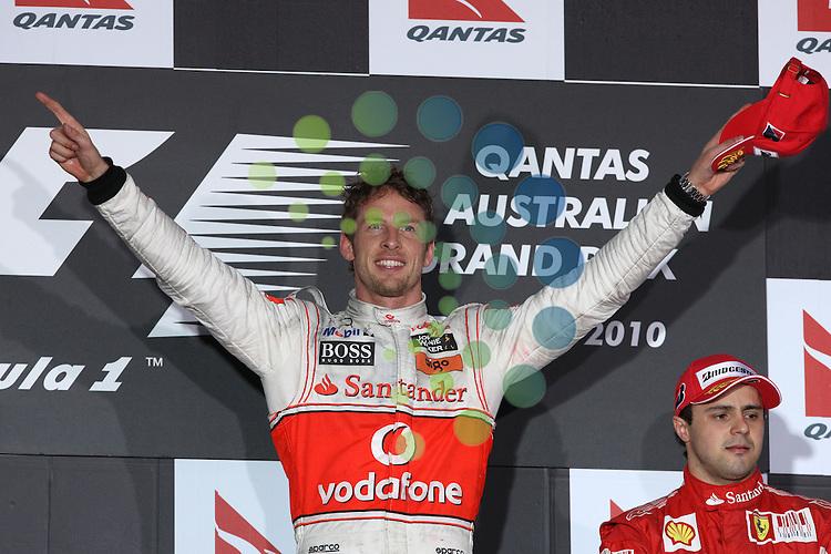 F1 GP of Australia, Melbourne 26. - 28. March 2010.Podium - Jenson Button (GBR),  McLaren F1 Team  ..Hasan Bratic;Koblenzerstr.3;56412 Nentershausen;Tel.:0172-2733357;.hb-press-agency@t-online.de;http://www.uptodate-bildagentur.de;.Veroeffentlichung gem. AGB - Stand 09.2006; Foto ist Honorarpflichtig zzgl. 7% Ust.;Hasan Bratic,Koblenzerstr.3,Postfach 1117,56412 Nentershausen; Steuer-Nr.: 30 807 6032 6;Finanzamt Montabaur;  Nassauische Sparkasse Nentershausen; Konto 828017896, BLZ 510 500 15;SWIFT-BIC: NASS DE 55;IBAN: DE69 5105 0015 0828 0178 96; Belegexemplar erforderlich!..