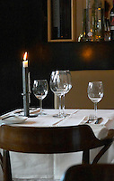 a table with white starched table cloth and glasses The gastronomic restaurant Tva Bröder, Two Brothers, on Sundstorget. Helsingborg, Skane, Scania. Sweden, Europe.