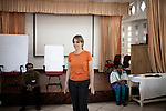 INDIA, KERALA JUNE 2014:<br />Sabriye Tenberken 43, who went blind at 12, co-founder of Braille Without Borders (BWB) and kanthari checking on students projects, Kerala 2014  @Giulio Di Sturco
