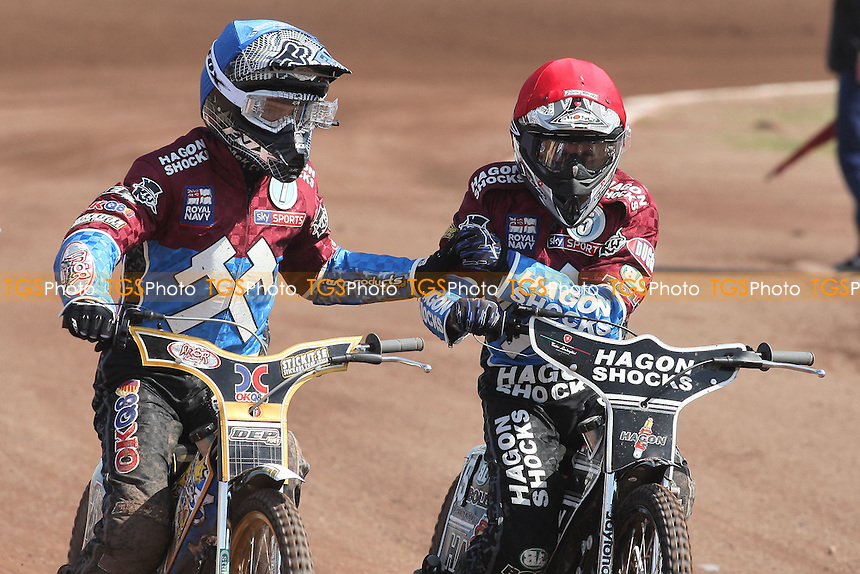 Heat 4: Kim Nilsson (blue) and Lee Richardson celebrate a 5-1 for Lakeside - Lakeside Hammers vs Eastbourne Eagles - Sky Sports Elite League Speedway at Arena Essex Raceway, Purfleet - 06/04/12 - MANDATORY CREDIT: Gavin Ellis/TGSPHOTO - Self billing applies where appropriate - 0845 094 6026 - contact@tgsphoto.co.uk - NO UNPAID USE.