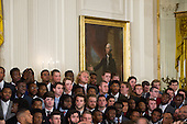 Members of the 2015- 2016 College Football Playoff National Champion Alabama Crimson Tide wait for the arrival of U.S. President Barack Obama and their Head Coach Nick Saban, prior to a ceremony to honor them in the East Room at The White House in Washington, D.C., Wednesday, March 2, 2016.<br /> Credit: Rod Lamkey Jr. / Pool via CNP