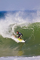 Friday July 9, 2010. Brett Simpson (USA). Free surfing at Jeffreys Bay, Eastern Cape, South Africa.  The swell is in the 5'-6' range with a howling north west devil wind. Photo: joliphotos.com