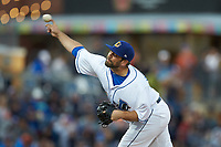 Durham Bulls relief pitcher Andrew Kittredge (39) delivers a pitch to the plate against the Gwinnett Braves at Durham Bulls Athletic Park on April 20, 2019 in Durham, North Carolina. The Bulls defeated the Braves 11-3 in game one of a double-header. (Brian Westerholt/Four Seam Images)