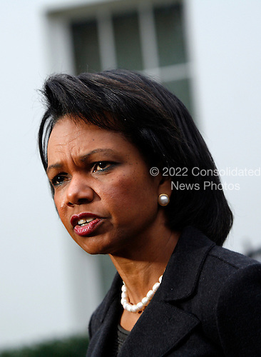 Washington, DC - January 2, 2009 -- United States Secretary of State Condoleezza Rice makes a statement on the situation in Israel and Gaza at the White House, Washington DC, Friday, January 2, 2009..Credit: Aude Guerrucci - Pool via CNP