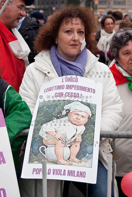 """Milano, """"C-Day"""", presidio in difesa della Costituzione e della scuola pubblica. Satira sul premier Berlusconi --- Milan, """"C-Day"""", garrison in defense of the Constitution and public school. Satire about premier Berlusconi"""
