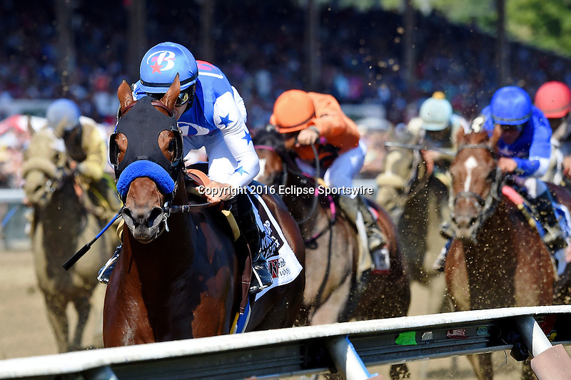 SARATOGA SPRINGS - AUGUST 27: Drefong #13, ridden by Mike Smith, wins the Ketel One King's Bishop Stakes on Travers Stakes Day at Saratoga Race Course on August 27, 2016 in Saratoga Springs, New York. (Photo by Bob Mayberger/Eclipse Sportswire/Getty Images)