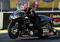 Mar. 12, 2012; Gainesville, FL, USA; NHRA pro stock motorcycle rider Matt Smith during the Gatornationals at Auto Plus Raceway at Gainesville. The race is being completed on Monday after rain on Sunday. Mandatory Credit: Mark J. Rebilas-