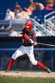 Batavia Muckdogs center fielder Corey Bird (12) at bat during a game against the Auburn Doubledays on September 5, 2016 at Dwyer Stadium in Batavia, New York.  Batavia defeated Auburn 4-3. (Mike Janes/Four Seam Images)