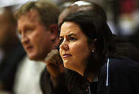Saints technical analyst Sarah Molisa (right) and coach Gordon McLeod watch their team during the NBL Round 2 basketball match between the Wellington Saints and Nelson Giants at TSB Bank Arena, Wellington, New Zealand on Thursday 19 March 2009. Photo: Dave Lintott / lintottphoto.co.nz