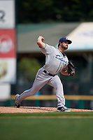 Columbus Clippers relief pitcher Jeff Johnson (40) during a game against the Rochester Red Wings on August 9, 2017 at Frontier Field in Rochester, New York.  Rochester defeated Columbus 12-3.  (Mike Janes/Four Seam Images)