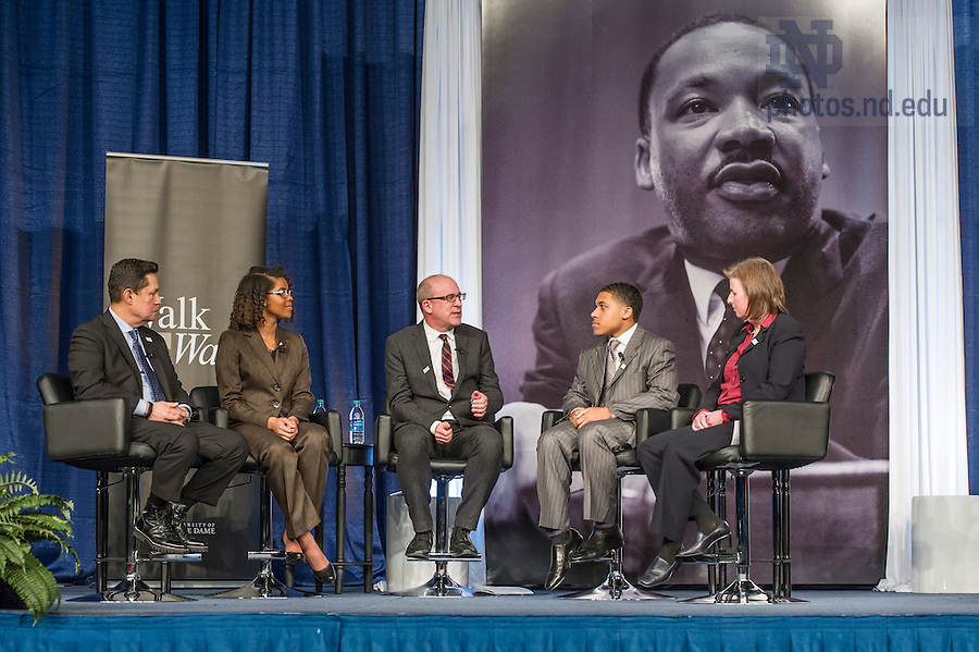 Jan. 18, 2016; Dean John MGreevy holds a panel discussion with (left-right) Professor Luis Fraga, Katie Washington Cole, Steven Waller and Associate Professor Jennifer Mason McAward at the Martin Luther King, Jr. Celebration Luncheon 2016.  (Photo by Barbara Johnston/University of Notre Dame)
