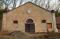 The Chateau Dereszla winery: the entrance to the underground cellars. Major restoration work is ongoing. Dereszla is owned by Edonia, a French (Bordeaux) négociant (wine trading) company. Major renovations are being done. Credit Per Karlsson BKWine.com