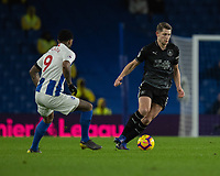 Burnley's James Tarkowski (right) under pressure from  Brighton &amp; Hove Albion's Jurgen Locadia (left) <br /> <br /> Photographer David Horton/CameraSport<br /> <br /> The Premier League - Brighton and Hove Albion v Burnley - Saturday 9th February 2019 - The Amex Stadium - Brighton<br /> <br /> World Copyright &copy; 2019 CameraSport. All rights reserved. 43 Linden Ave. Countesthorpe. Leicester. England. LE8 5PG - Tel: +44 (0) 116 277 4147 - admin@camerasport.com - www.camerasport.com