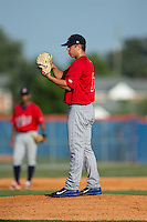 Elizabethton Twins starting pitcher Andro Cutura (13) looks to his catcher for the sign against the Kingsport Mets at Hunter Wright Stadium on July 9, 2015 in Kingsport, Tennessee.  The Twins defeated the Mets 9-7 in 11 innings. (Brian Westerholt/Four Seam Images)