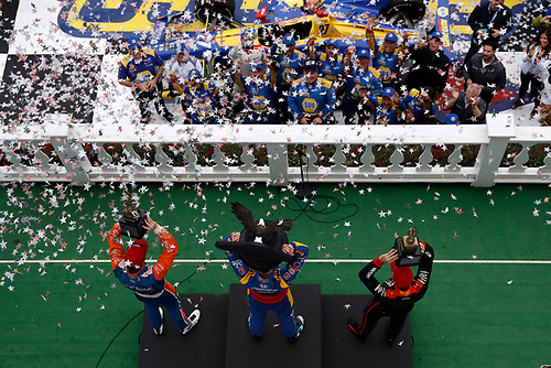 Alexander Rossi, Andretti Autosport Honda, Victory Lane, podium, Will Power, Team Penske Chevrolet, Scott Dixon, Chip Ganassi Racing Honda