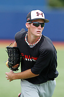 Pitcher Kyle Twomey #24 of Sante Fe High School in Oklahoma warms up in the outfield during practice for the Under Armour All-American Game presented by Baseball Factory at Les Miller Field on August 12, 2011 in Chicago, Illinois.  (Mike Janes/Four Seam Images)