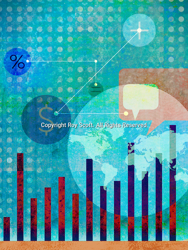 Collage of global finance and communications