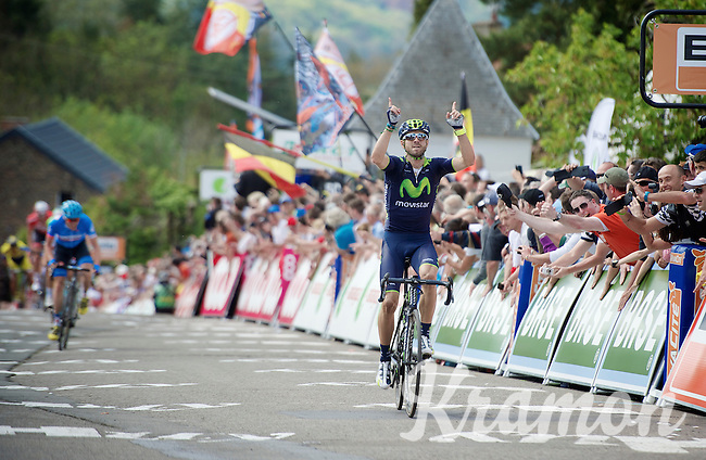 race winner Alejandro Valverde (ESP/Movistar) crossing the finish line<br /> <br /> La Flèche Wallonne 2014