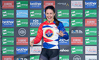 Picture by Allan McKenzie/SWpix.com - 17/05/2018 - Cycling - OVO Energy Tour Series Womens Race - Round 2:Aberdeen - Rebecca Durrell comes on stage to take the Brother Fastest Lap award.