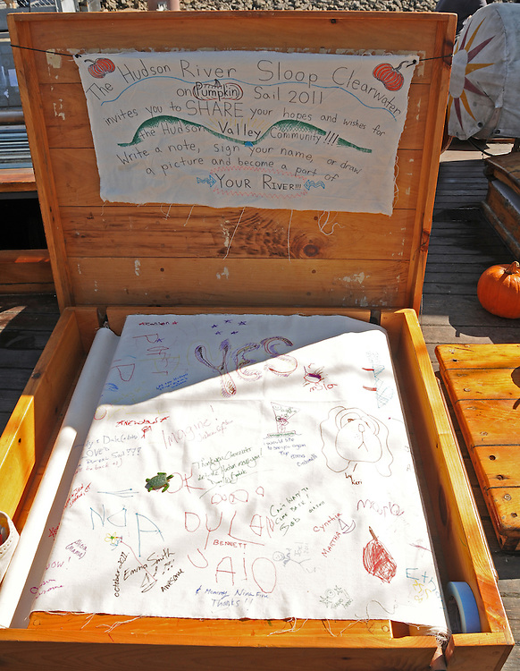 "Detail of a young persons ""log"" aboard the Sloop Clearwater at the Pumpkin Sail Festival at Hudson, NY on Monday, October 10, 2011. Photo by Jim Peppler. Copyright Jim Peppler/2011."