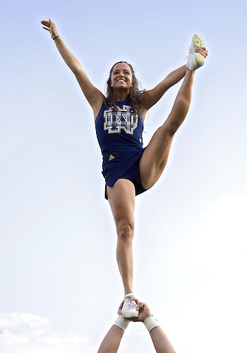 August 31, 2013:  Notre Dame cheerleader Erin Garfield performs during NCAA Football game action between the Notre Dame Fighting Irish and the Temple Owls at Notre Dame Stadium in South Bend, Indiana.  Notre Dame defeated Temple 28-6.