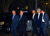 United States President Barack Obama (third from right) walks back to The White House with Vice President Joseph Biden, Jr. (left) U.S. Ambassador to the People's Republic of China Max Baucus (second from left) Secretary of State John Kerry (second from right) and Secretary of the Treasury Jacob Lew (right) following a private dinner with President of the People's Republic of China Xi Jinping in Washington, D.C., Thursday, Sept. 24, 2015, en route to a private dinner across the street at Blair House. <br /> Credit: Rod Lamkey Jr. / Pool via CNP