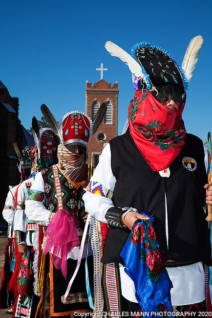 Every Christmas Day morning the pueblo of Ohkay Owingeh celebrates the holiday with a dance, featuring colorful Matachine dancers wearing veiled headresses and ribbons.