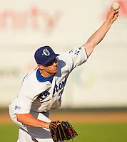 Ogden Raptors starting pitcher Jake Hermsen (22) in action against the Orem Owlz at Lindquist Field on July 28, 2012 in Ogden, Utah.  The Raptors defeated the Owlz 8-7.   (Brian Westerholt/Four Seam Images)