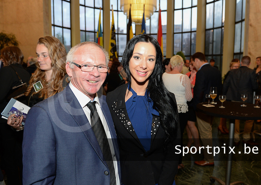 20150529 – OOSTENDE , BELGIUM : Luc Calleeuw (left) and Tina Tyteca (r) pictured during  the 1st edition of the Sparkle  award ceremony , Friday 29 May 2015, in Oostende . The Sparkle  is an award for the best female soccer player during the season 2014-2015 comparable to the Golden Shoe / Gouden Schoen / Soulier D'or for Men . PHOTO DAVID CATRY