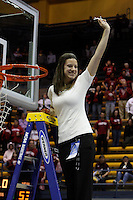 BERKELEY, CA - MARCH 30: Sara Boruta cuts down the net following Stanford's 74-53 win against the Iowa State Cyclones on March 30, 2009 at Haas Pavilion in Berkeley, California.