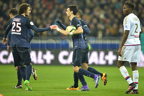 28.02.2016. Lyon, France. French League 1 football. Olympique Lyon versus Paris St Germain.  JAVIER PASTORE (psg) celebrates the PSG goal with ADRIEN RABIOT (psg) and Scorer LUCAS MOURA (psg)