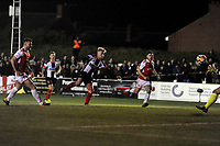 Marcus Carver of Chorley scores the opening goal of the game during Chorley vs Fleetwood Town, Emirates FA Cup Football at Victory Park on 6th November 2017